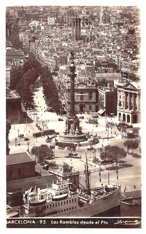 Barcelona Spain Las Ramblas desde el Pto Ship RPPC Postcard