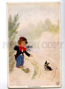156705 COMIC Boy w/ FRENCH BULLDOG Boston Terrier by BERT old
