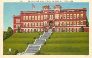 Johnson City Tennessee~Science Hill High School~~Lamp Post~1940s Postcard