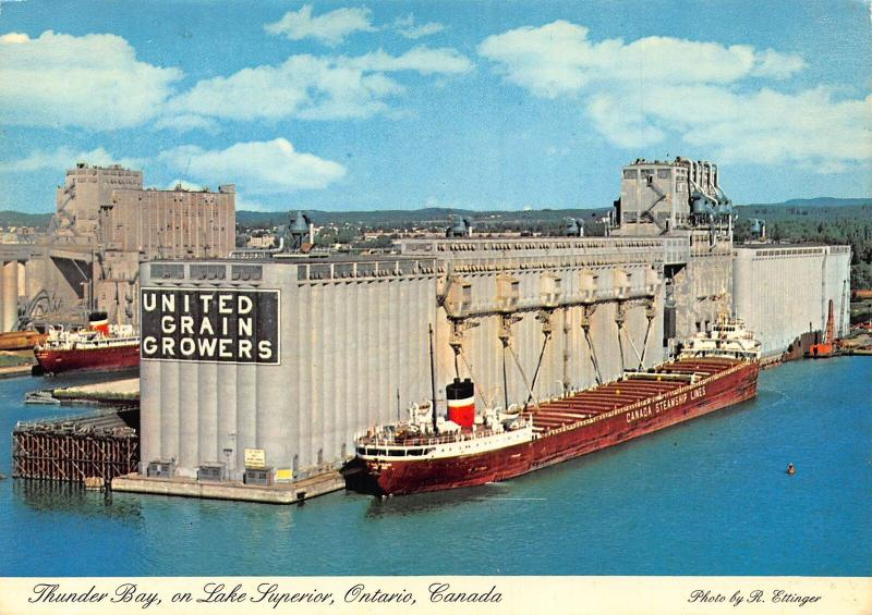 Canada Thunder Bay on Lake Superior Ontario United Grain Growers Postcard