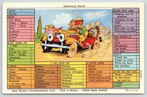 Busy Person Correspondence Card~Comic Car Homeward Bound~Indian Souvenir~1939