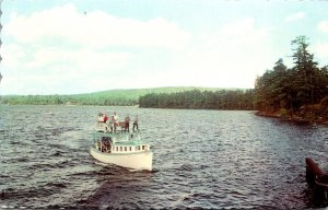 Maine Naples Mail Boat Jerrico Plying Waters Of Long Lake