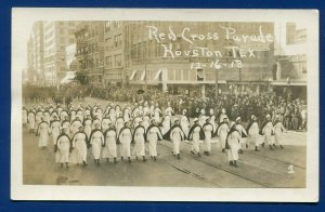 Houston Texas Red Cross Nurses march in Parade December 1918 real photo postcard