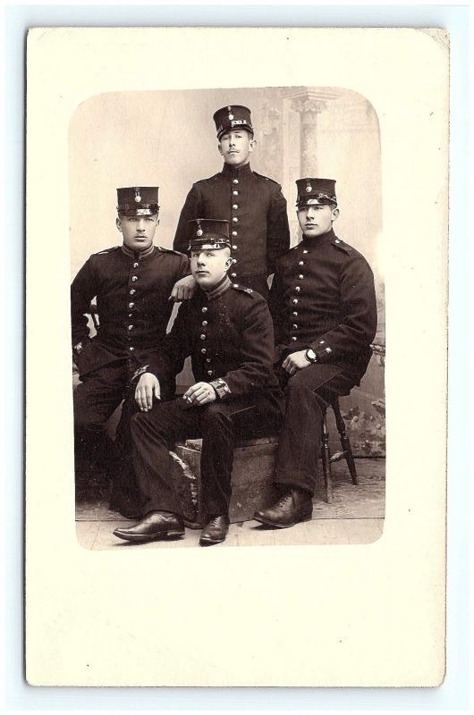 Postcard Swedish Police or Soldiers Studio RPPC Real Photo c1910 G07
