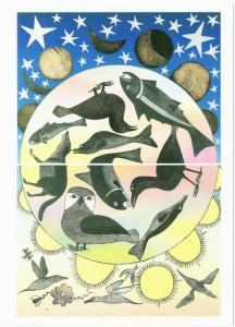 Siilavut Nunavut Birds Fish Moon Stars by Kenojuak Ashevak Art Postcard
