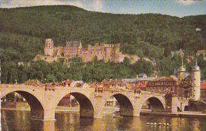 Germany Heidelberg Alte Neckarbruecke und Schloss