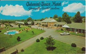 GREENVILLE SC - Colonial Court Hotel 1960s / grounds / DEMOLISHED