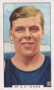 EH Temme English Channel Olympic Swimming 1930s Cigarette Card