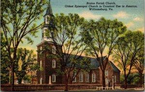 Lot of 4 : Williamsburg Virginia Va 1951 Church Linen Unposted Postcards