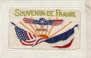 WAR 1914-18 ; Airplane & flags of USA & France ; Embroidered