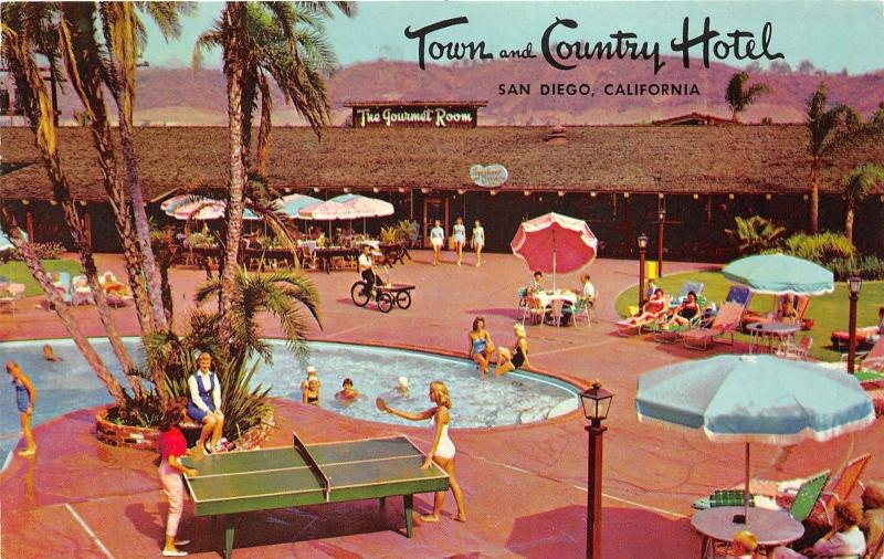 San Diego California~Town &Country Hotel Pool~Bathing Beauties Play Pingpong~'66
