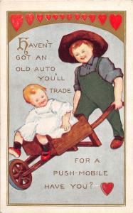 D75/ Valentine's Day Love Holiday Postcard c1910 Wheelbarrow Ride Kids 14
