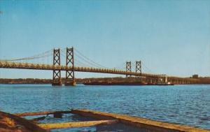 Iowa Twin Suspension Bridge Between Bettendorf and Moline Illinois