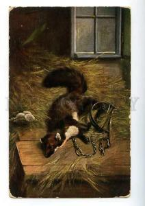 183011 HUNTING sable trapped in henhouse MULLER Vintage