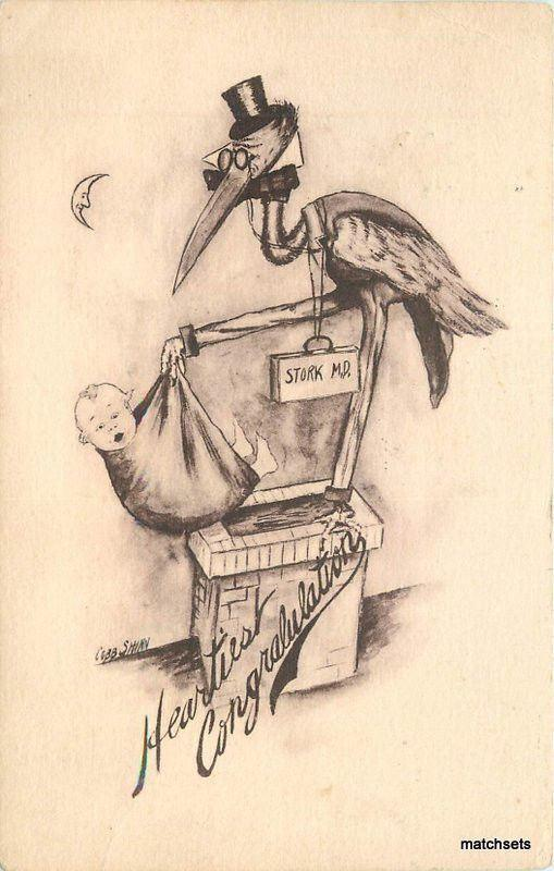 1910 Artist impression Stork with Baby postcard 10224