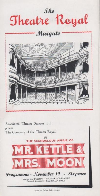 Mr Kettle & Mrs Moon JB Priestley Rare Theatre Royal Margate Kent Programme