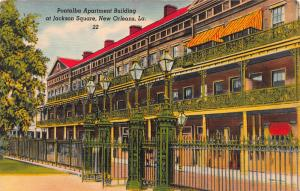 Pontalba Apt. Bldg., at Jackson Square, New Orleans, LA, Early Postcard, Used