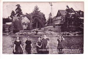 Uneeda Rest Hotel, Bathing Beach, Sparrow Lake, Muskoka, Ontario, Used 1909