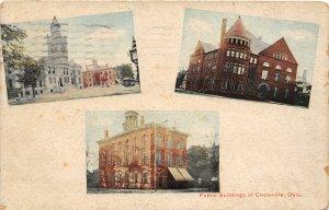 F77/ Circleville Ohio Postcard 1911 3View Public Buildings Court House