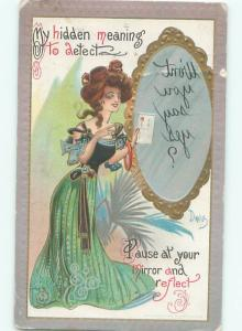 Pre-Linen Risque signed DWIG - SEXY GIRL WITH REVERSE MESSAGE IN MIRROR AB6085