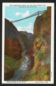 Suspension Bridge Highest Bridge in the World Royal Gorge Colorado Unused c1930s
