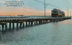 Manitou Beach Railroad Trolley Trestle near Rochester NY New York - pm 1916 - DB