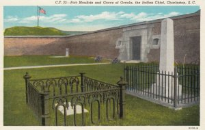 CHARLESTON, South Carolina, 1910-20S; Fort Moultrie and Grave of Oceola, the ...