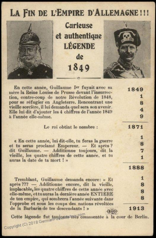 France WWI-era Political Anti-German Patriotic Postcard 75451