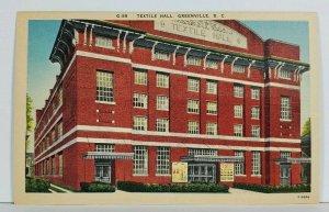 Greenville S.C. TEXTILE HALL Vintage Postcard M14