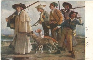A.Covarsi. Furtive Hunters. Cazadores Furtivos Fine painting, nice Spanish PC