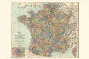 French La France Map Rare Postcard