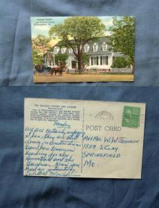 Raleigh Tavern & Garden Reconstructed, Williamsburg, VA Postcard Colonial Coach