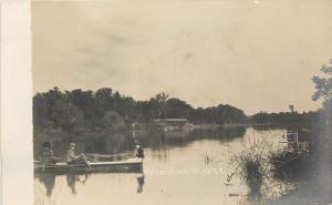 Vermillion River SD~Rustic Bridge~Fella Rows Victorian Ladies~Rowboat~1910 RPPC
