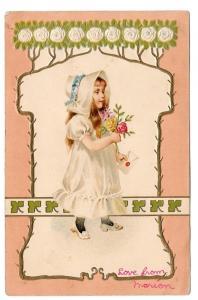 Vintage Embossed Postcard Edwardian Girl in White w Roses