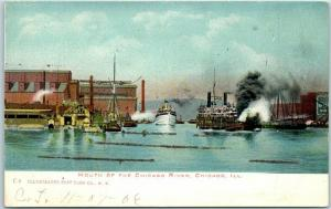 Chicago, Illinois Postcard MOUTH OF THE CHICAGO RIVER Illustrated PC 1906