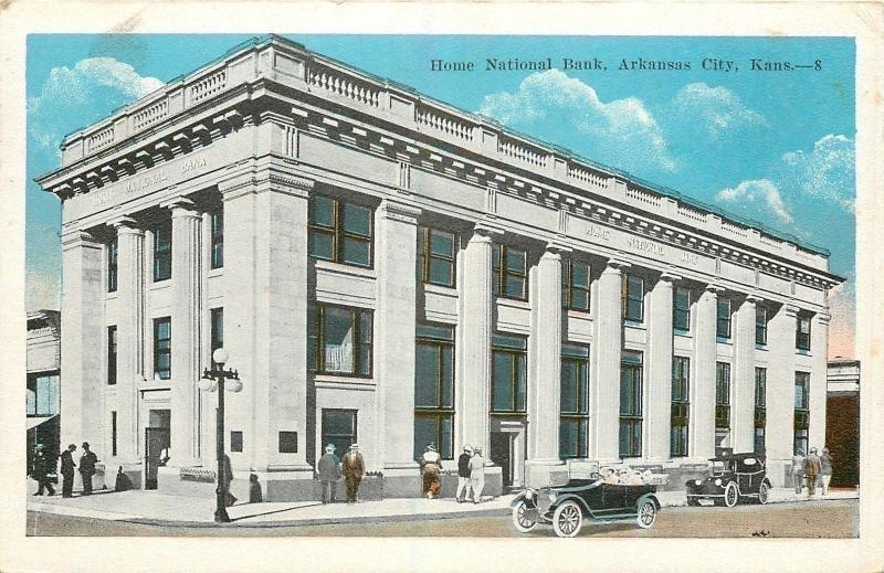 Arkansas City Kansas Home National Bank Folks on Street Globe Lamp
