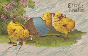 EASTER Greetings, 1900-1910s; Chick Hatching From A Blue Egg, A.S.B. No. 297