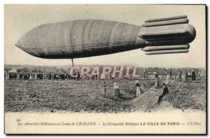 Old Postcard Zeppelin Airship Aviation Camp Chalons City of Paris