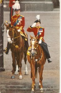 The Queen taking the salute. Horses Nice vintage Engliah poatcard