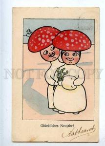 184833 NEW YEAR Amanita Mushroom ART DECO Vintage B.K.W.I. PC