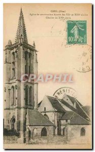 Old Postcard Creil Oise weird building church XII and XIII centuries XVI cent...