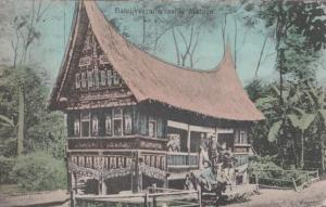 Balei Vergaderzaal Te Matoen Indonesia Arabic Isreal Old Native House Postcard