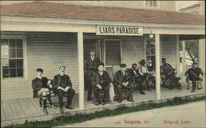 Belgrade ME Liars Paradise Fishing Camp Men on Porch c1905 Postcard
