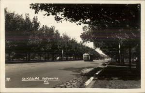 Melbourne Victoria Sr Kilda Road c1915 Real Photo Postcard