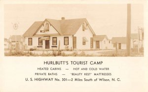 Wilson North Carolina Hurlbutt's Tourist Camp Real Photo Postcard AA19561