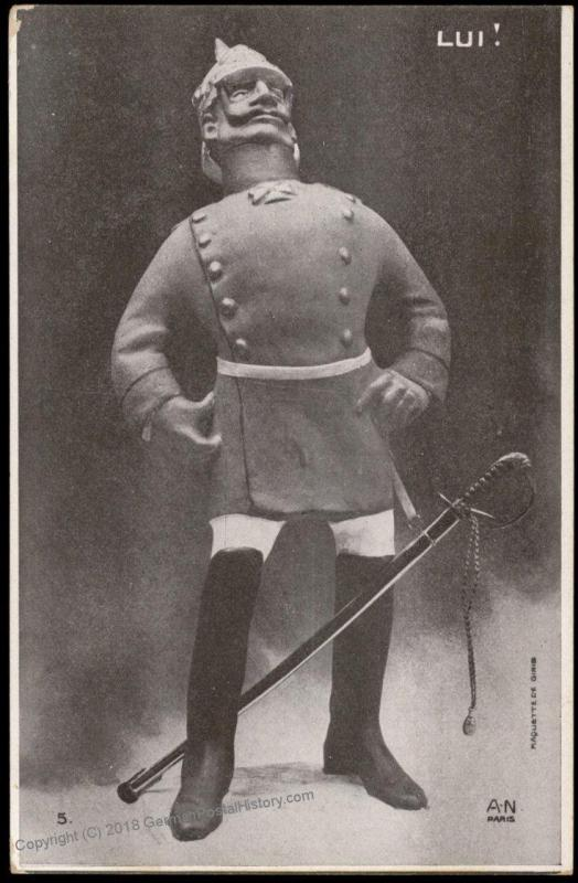 France WWI-era Political Anti-German Kaiser Wilhelm II Patriotic Postcard 75332