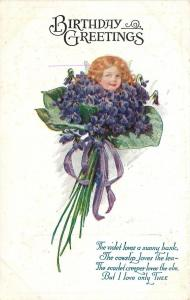 Fantasy Face Petal People~Blonde in African Violets Bouquet~White Emboss~1912 PC