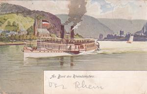Steamship , Germany , 1904 ; An bord des Rheindampfers