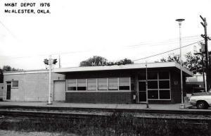 McAlester Oklahoma 1976 Missouri Kansas Texas train depot real photo pc Z30247