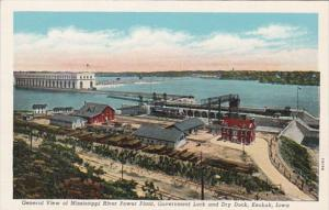 Iowa Keokuk General View Of Mississippi River Power Plant Government Lock and...